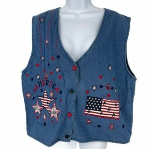 Keren Hart USA American Flag Denim Vest Size 2X